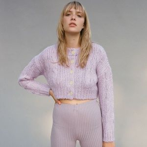 UO Cameron Cropped Cable Knit Cardigan